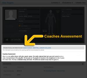 Athlete promotion coaches assessment