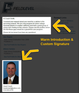 Athlete promotion signature